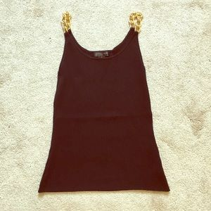 August Silk Black Ribbed Tank w/ Gold Chain Straps
